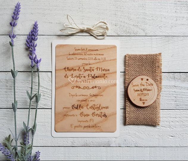 Invito+save the date legno