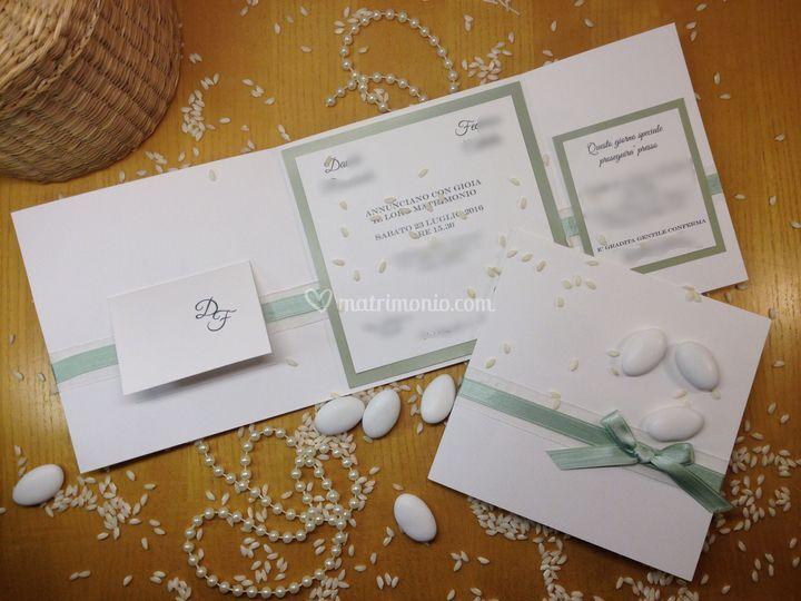 Invito matrimonio verde salvia