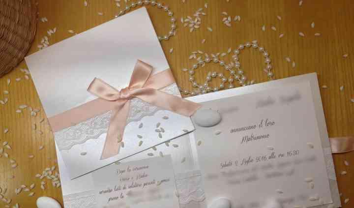 Pizzo e rosa invito nozze