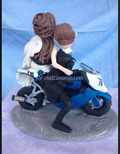 Retro sposi in moto
