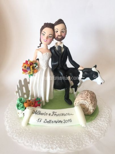 Cake topper sposi sulla mucca