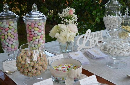 Buffet di confetti per il matrimonio