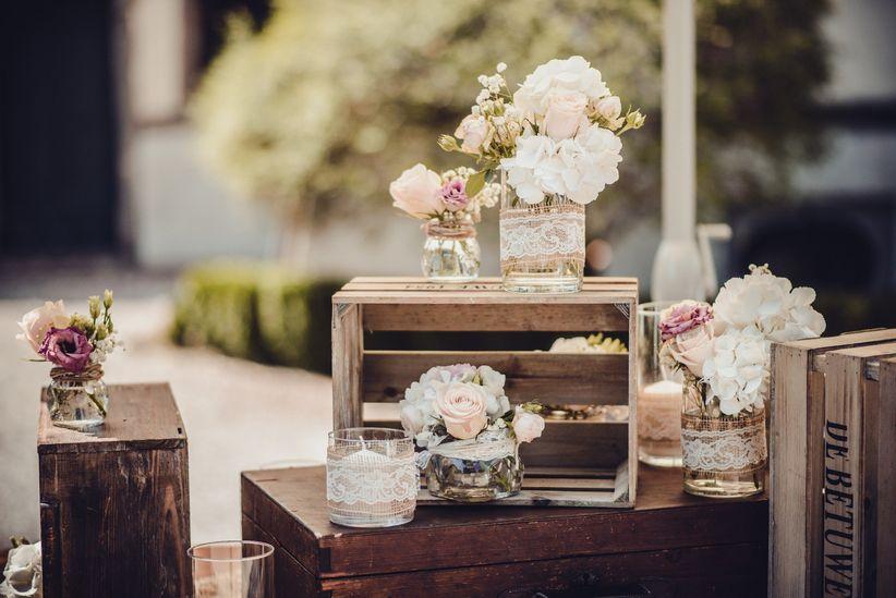 Decorazioni Matrimonio Shabby Chic On Line : Decorazioni con le cassette di legno nozze shabby chic