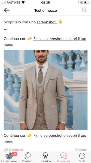 Fai lo screenshot e scopri il vestito dello sposo 1