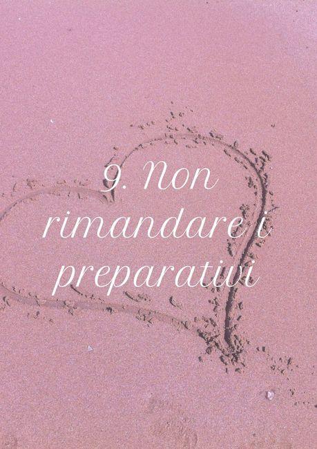 9. Non rimandare i preparativi 1