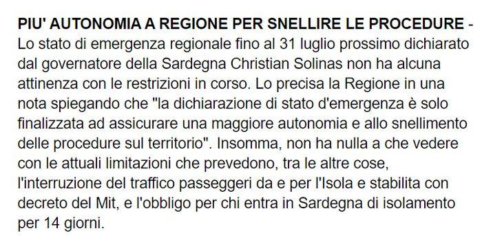 Regione Sardegna stato d'emergenza fino al31 luglio 1