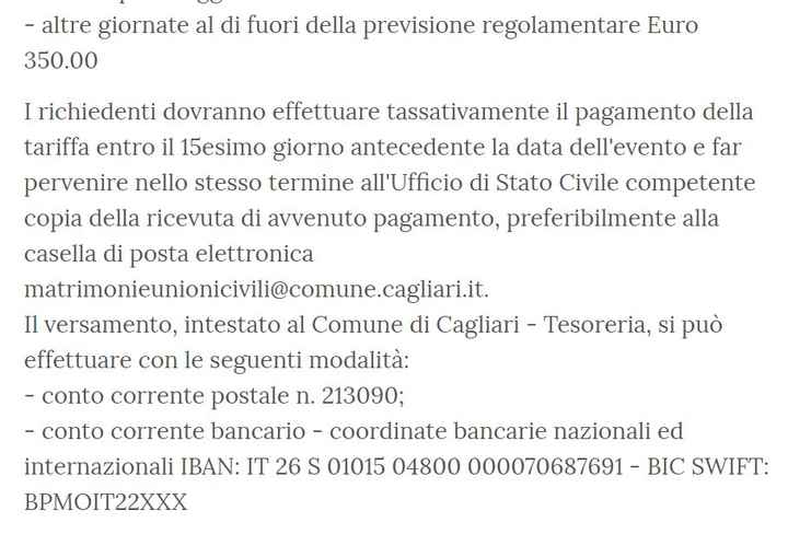 Location cerimonia civile Cagliari 2020/2021 - 2