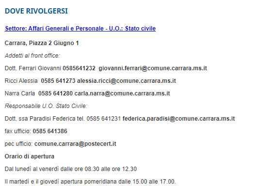 Rito civile Massa Carrara - 2