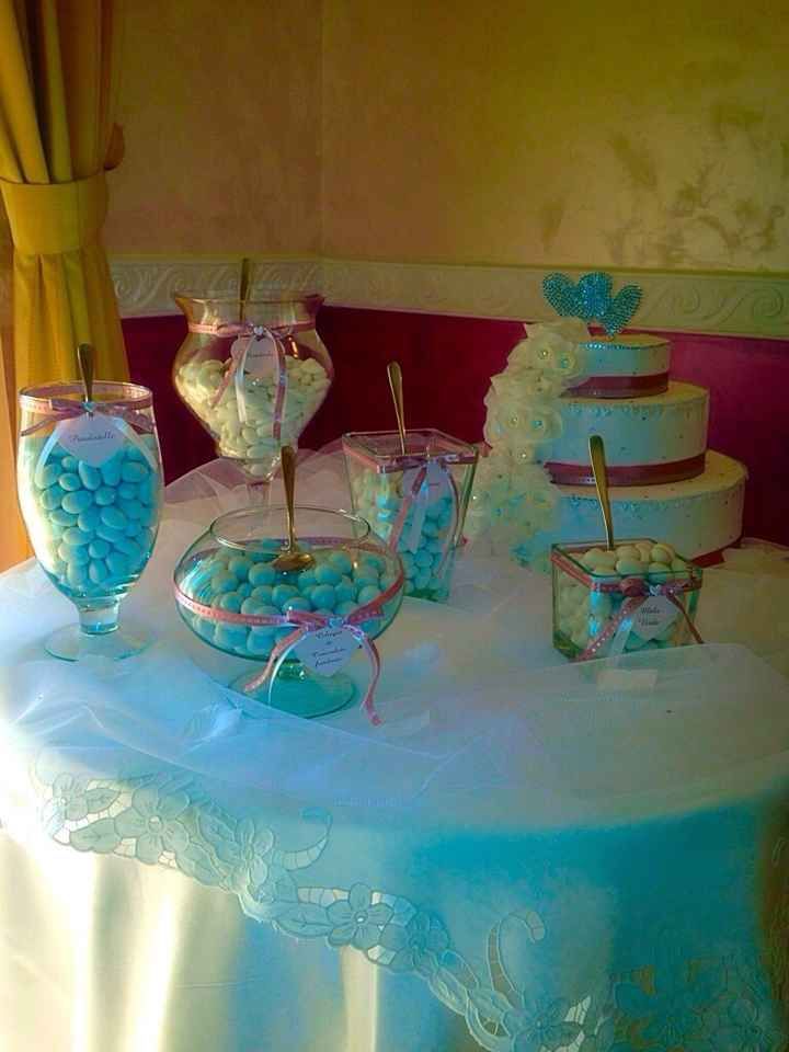 Tavoli e confettata , tema rosa antico! - 2