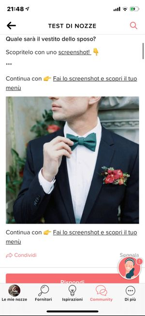 Fai lo screenshot e scopri il vestito dello sposo 11