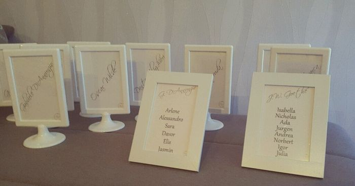 Pezzi del mio tableau e nomi tavoli organizzazione matrimonio