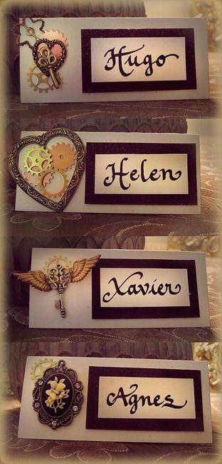 un cartoncino con il nome scritto a mano ed una decorazione diversa l'uno dall'altro che diventa anc