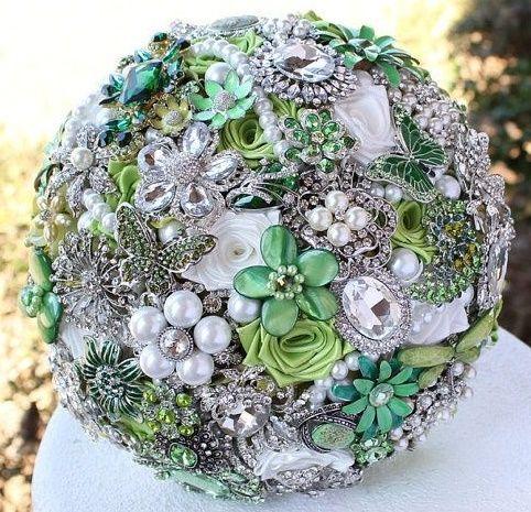 il bouquet della sposa, gioiello, colore verde