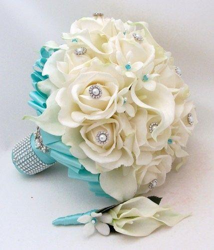 il bouquet della sposa, gioiello, colore tiffany 5