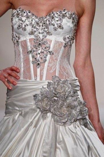 abito da sposa, stile bustier - dettaglio corpetto 2