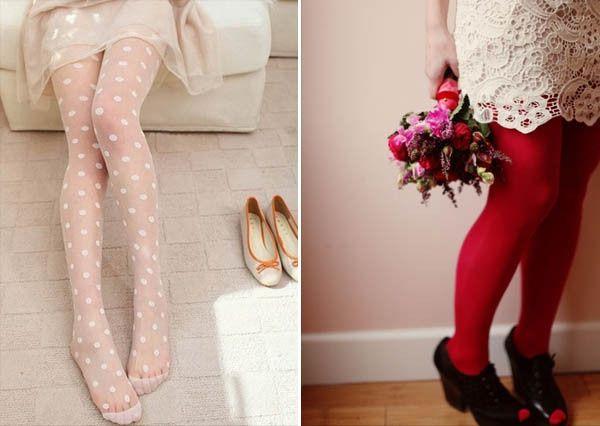 accessori da sposa - calze, abito corto, calza fantasia