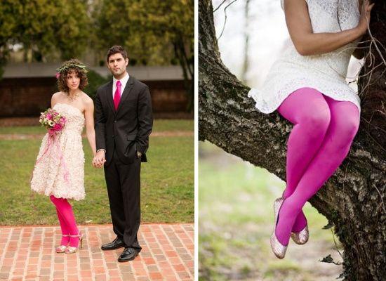 accessori da sposa - calze, abito corto, calza fantasia 2