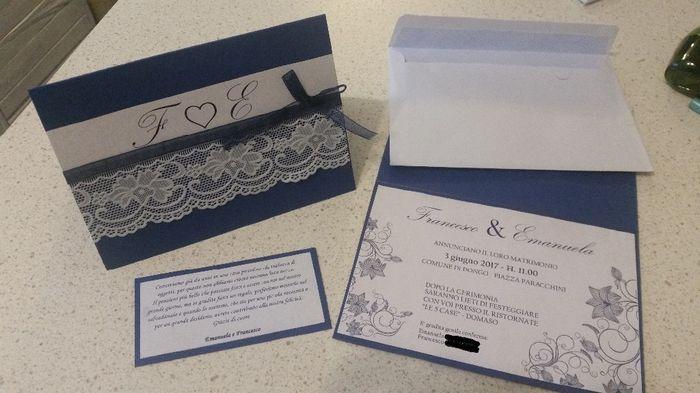 Matrimonio Tema Bianco E Blu : Partecipazioni fai da te matrimonio bianco e blu