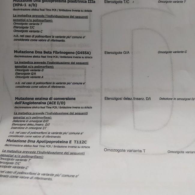 Referto trombofilia - 2