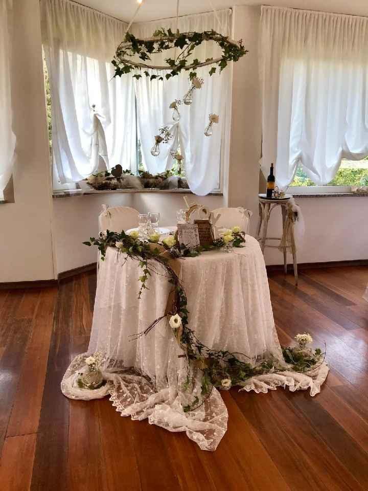Tavolo sposi con edera