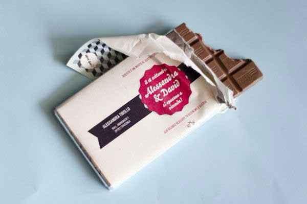 Partecipazione su tavoletta cioccolato