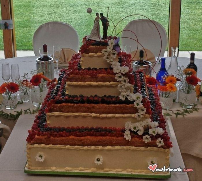 Torta nuziale e tavolo sposi