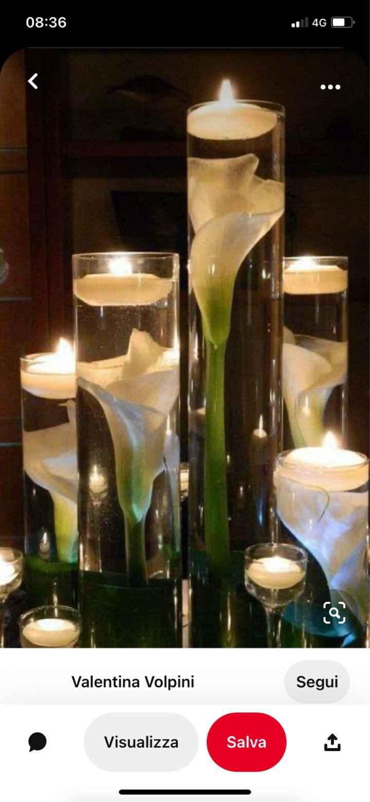 Idee centro tavola con candele galleggianti e fiori - 2