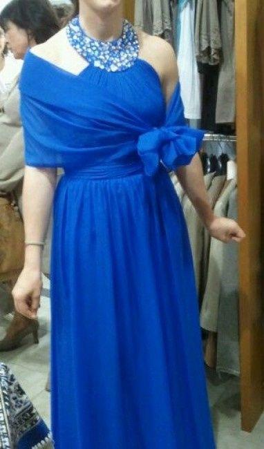 Vestito blu elettrico stola