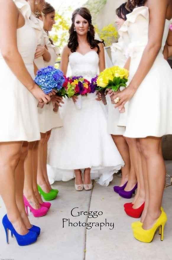 rainbow bride/bridesmaid