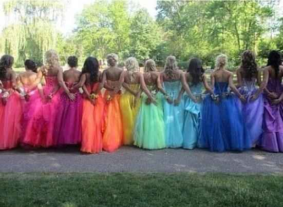 rainbow bridesmaid