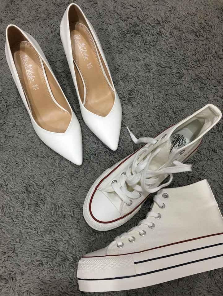 Scarpe sposa bianco seta - 1
