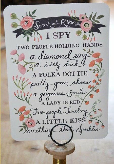 Favoloso Idee intrattenimento: gioco i spy - Organizzazione matrimonio  LB73