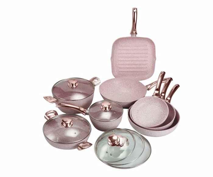 Batteria di pentole Stonerose manico oro rosa