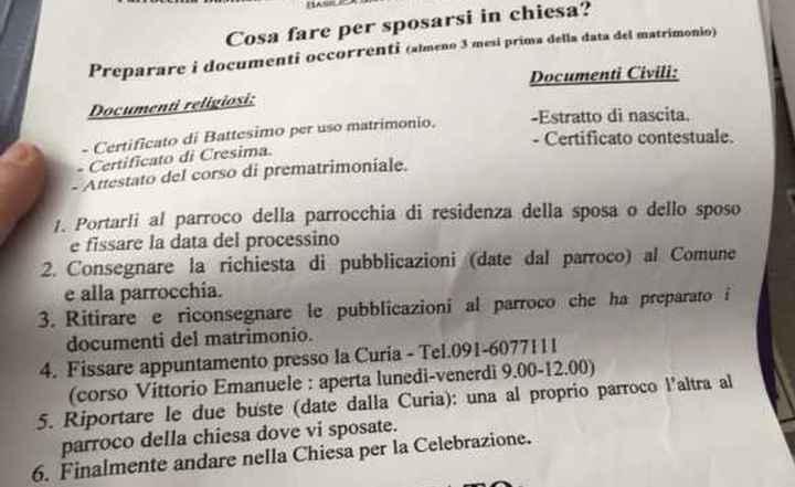 Documenti per la cerimonia in Chiesa - 1