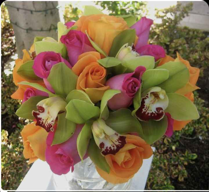 Bouquet arancione e verde - 1