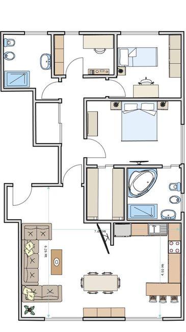disposizione cucina e soggiorno in open space vivere