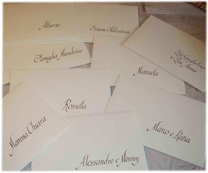 le buste, gli invitati e la calligrafia