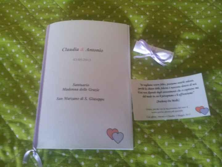 libretto messa e segnaposto