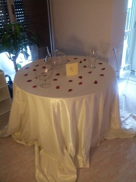 Tavolo confetti a casa in preparazione fai da te - Tavolo sposa a casa ...