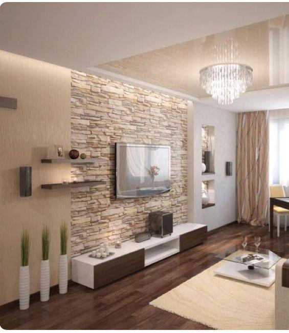 Soggiorno parete in pietra si o no vivere insieme for Salone con parete in pietra