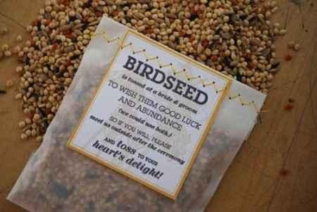 alternativa al riso: lancio semi per uccellini