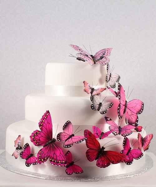 torta con farfalle rosa