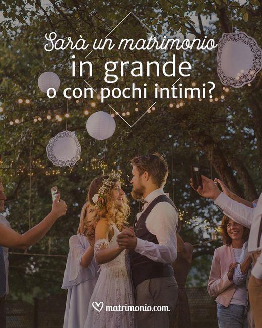 Sarà un matrimonio in grande o con pochi intimi? 1