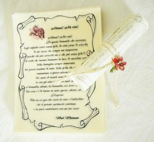 Pergamena Segnaposto Matrimonio.Pergamena Segnaposto Aiuto Organizzazione Matrimonio