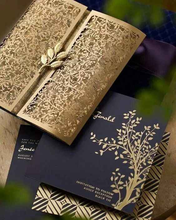 Inviti blu e oro, lasercut ed albero della vita