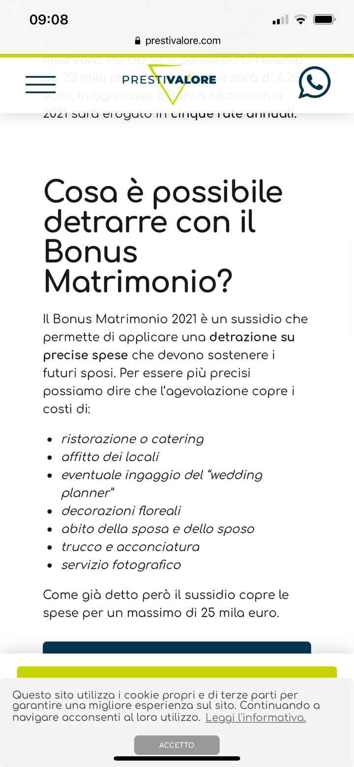 Bonus matrimoni 2021 - 2