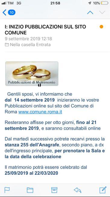 Spose in Comune (roma) e Coronavirus 1