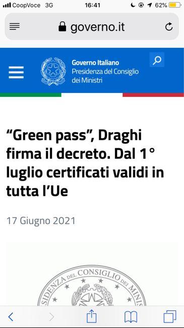 Greenpass approvato dal Governo - 1