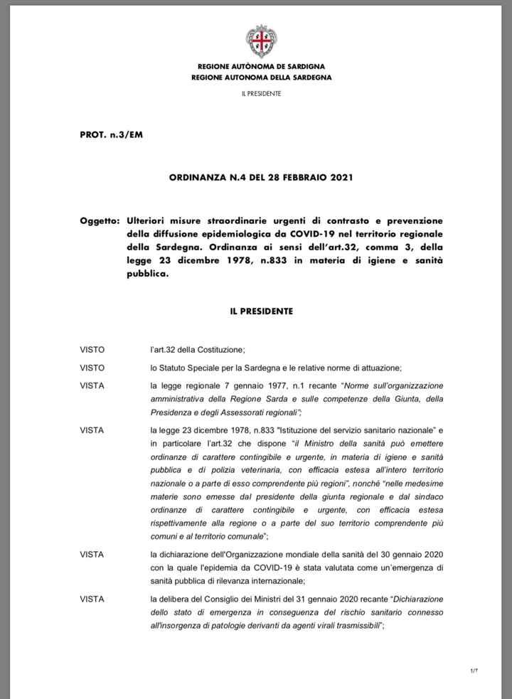 Ordinanza Sardegna - 1