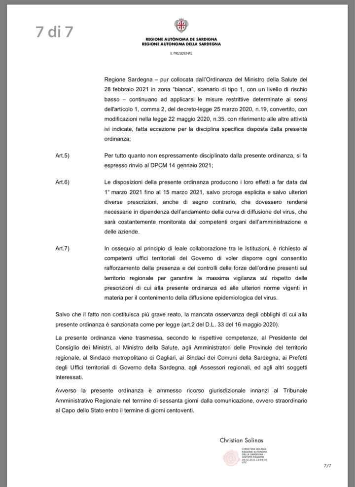 Ordinanza Sardegna - 7